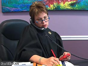 New Orleans Judge Laurie White in her chambers as she prepares for a hearing.