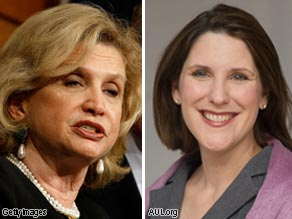 Rep. Carolyn Maloney (L) and Charmaine Yoest (R).