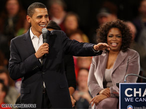 President Obama, pictured here in a 2007 file photo, joined his friend and supporter Orpah Winfrey on Forbes&#039; 2009 list of the top 100 celebrities
