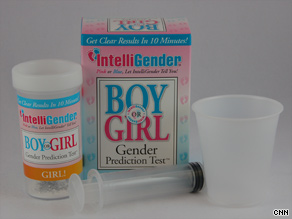 IntelliGender makes a gender prediction test. If a urine specimen turns orange, it's a girl. Green is for boys.
