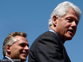 Former President Clinton campaigned on behalf of McAuliffe at an event in Herndon, Virginia last month.