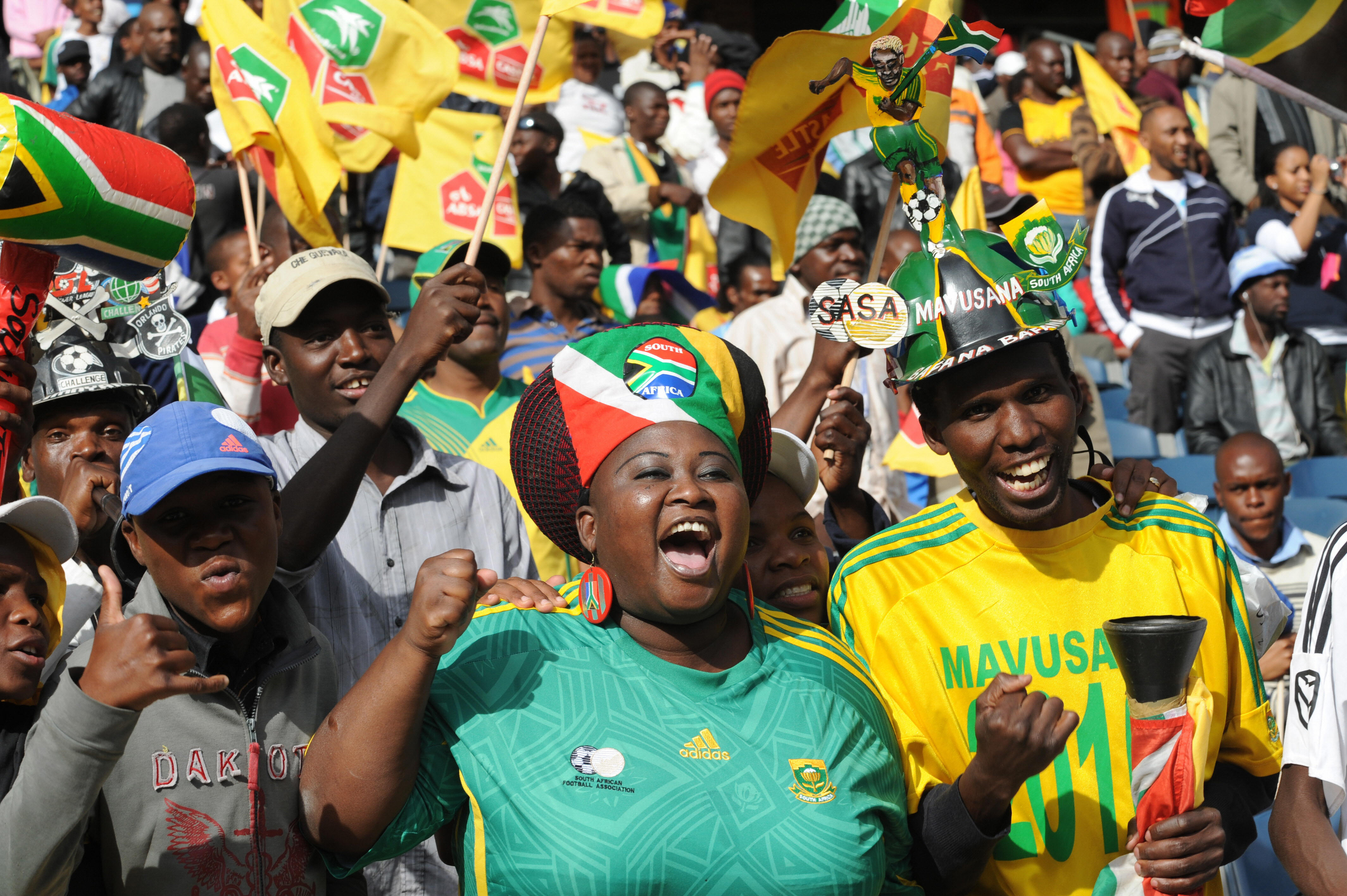 Fans cheer on Bafana Bafana in a recent friendly against Poland.