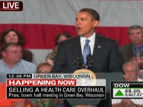 President Obama is discussing health care reform in Green Bay, Wisconsin.