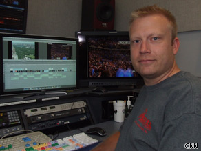 Matt Arnold finishes his editing on the day's piece.