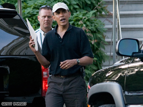Obama's motorcade was stuck in DC traffic on the president's way to playing golf.