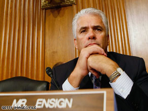Sen. John Ensign Wednesday resigned his position in the Senate Republican leadership.