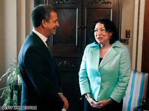Supreme Court nominee Judge Sonia Sotomayor, pictured here with Sen. Russ Feingold, is defending her membership in an all-women's club.