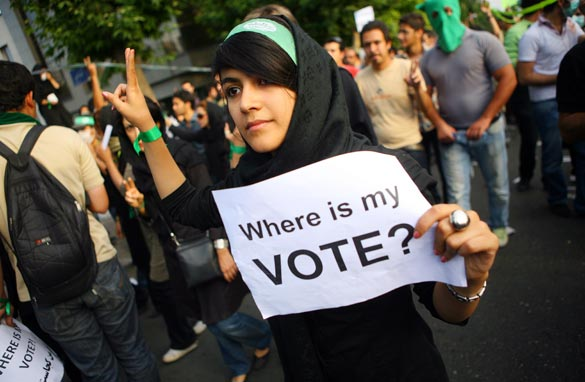 A supporter of defeated Iranian presidential candidate Mir Hossein Mousavi protests June 16, 2009 in Tehran, Iran. Getty Images