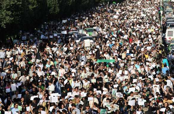 A picture released by the Fars News Agency shows supporters of defeated Iranian presidential candidate Mir Hossein Mousavi taking part in a rally in Tehran on June 17, 2009. Getty Images