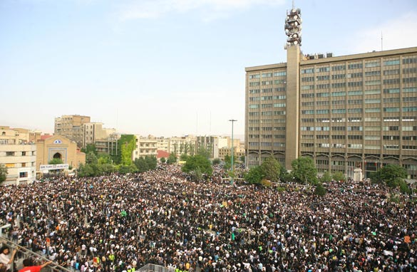 Iranian supporters of defeated reformist presidential candidate Mir Hossein Mousavi demonstrate on June 18, 2009 in Tehran, Iran. Getty Images