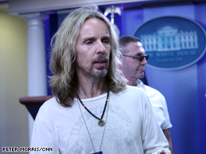 Styx's Tommy Shaw at the White House briefing room Monday.