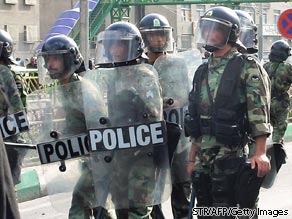 A picture obtained on June 21, 2009 shows Iranian riot police on a street of Tehran on June 20, 2009.