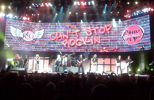 Styx and REO Speedwagon prove that they can't stop rocking as they play a sold out show in Atlanta Sunday night.