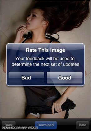 An image from the 'Hottest Girls' application for sale in the iTunes App Store.