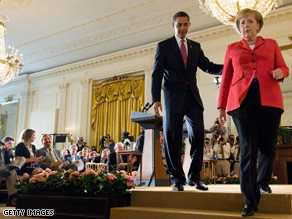 In a joint press conference, President Obama and German Chancellor Angela Merkel both condemned the post-election violence in Iran.