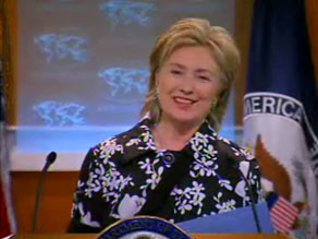 Secretary of State Hillary Clinton joked about her broken elbow at a State Department briefing today.