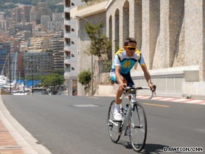 Contador getting in some final practice before the opening Monaco time-trial.