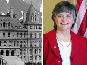New York State Legislature (L) and Sally Kern (R).