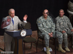 Vice President Joe Biden spoke to troops in Baghdad on July 4.