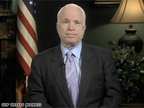 Sen. John McCain gave the GOP's weekly radio address.