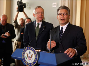 Senator-elect Franken was joined by Senate Majority Leader Harry Reid on Capitol Hill Monday.