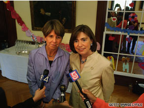 The first same-sex couple to marry in Massachusetts spoke with reporters in 2005 on the one year anniversary of the state legalizing same-sex marriages.