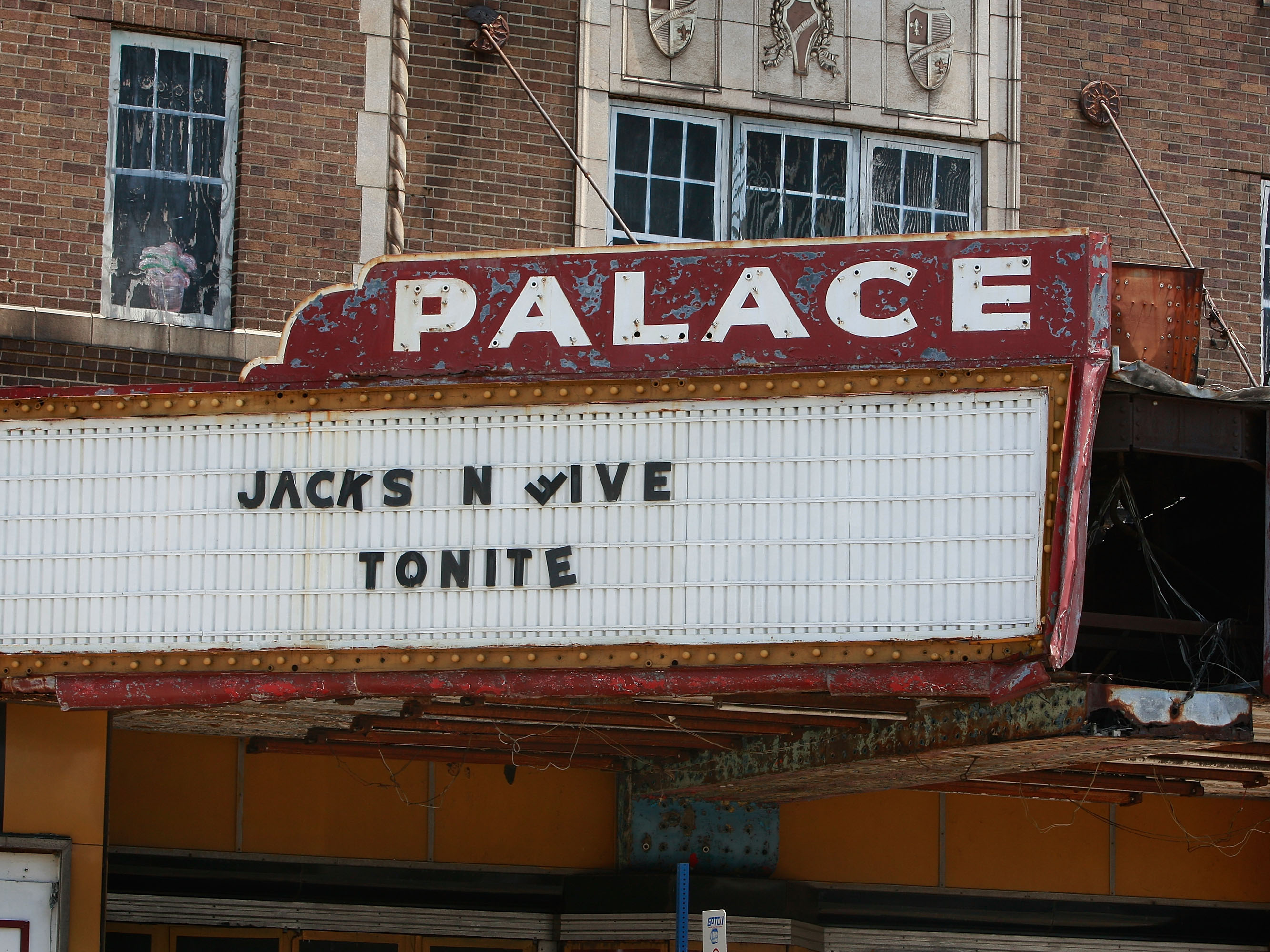 (Getty Images) The marquee at the decaying Palace Theater advertises the Jackson Five July 7, 2009 in Gary, Indiana.