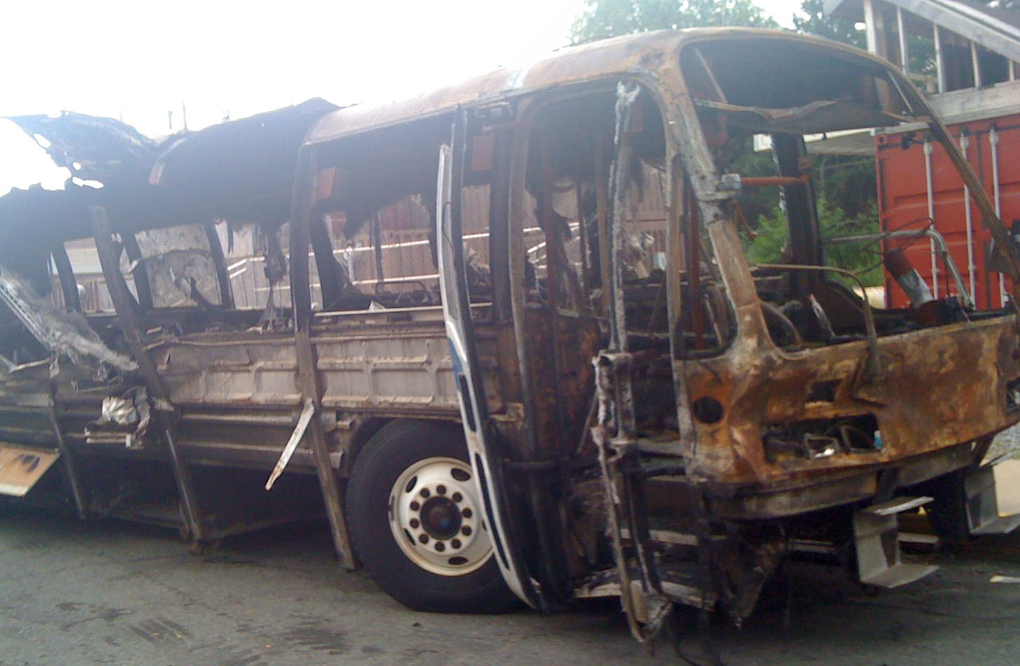 A simulated burning bus.