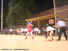 Congresswoman Debbie Wasserman Schultz bats during a charity softball game Tuesday night.