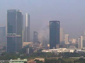 One witness captured the smoke rising above downtown Jakarta from the Ritz Carlton being bombed.