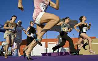 JONATHAN NACKSTRAND/AFP/Getty Images. Israeli women compete during the 'Race on Heels' near the beach in Tel Aviv on July 16, 2009.