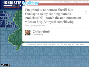 The official Twitter account of New Jersey Republican gubernatorial candidate Chris Christie: @ChristieforNJ.
