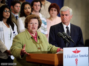 Sen. Barbara Mikulski broke her ankle Sunday night as she left her church in Baltimore.
