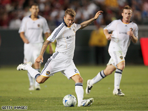 David Beckham #23 of the Los Angeles Galaxy takes a shot against AC Milan during the international friendly last week in Carson, California.