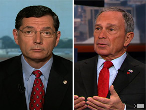 Sen. John Barrasso (L) and New York Mayor Michael Bloomberg (R).