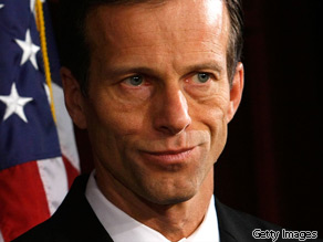 Sen. John Thune (R-SD) listens during a news conference on Capitol Hill February 26, 2009 in Washington, DC.
