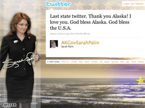 The last &#039;tweet&#039; from Sarah Palin as Governor of Alaska.