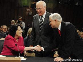 Judge Sotomayor was greeted by Sen. Patrick Leahy, center, and Sen. Sessions, right, during her recent confirmation hearings.