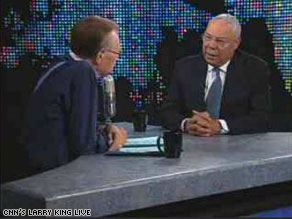 Former Secretary of State Colin Powell spoke Tuesday with Larry King.