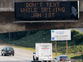 A law that went into effect January 1 in California makes it illegal to send text messages while driving.