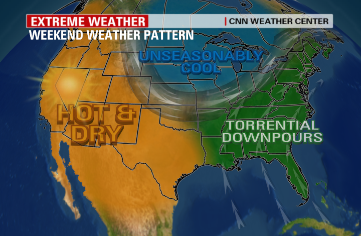 An extreme weather pattern will set up across the Nation this weekend with cold temperatures across the northern tier states, torrential rain along the Eastern Seaboard and hot and dry conditions in the West.