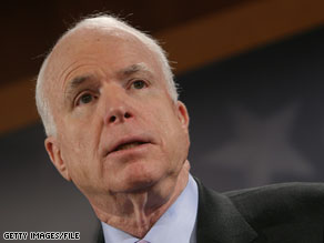 McCain wants suspected terrorists tried in military tribunals.