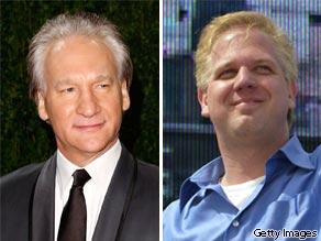 Bill Maher (L) and Glenn Beck (R).