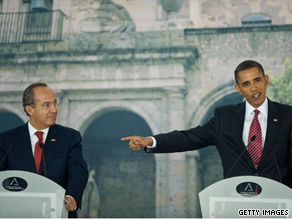 At a press conference in Mexico Monday, President Obama and Mexican President Felipe Calderon discussed fighting drug cartels.