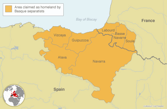 Basque France Map.Bombing Wave Marks Eta Campaign S 50th Year Cnn Com