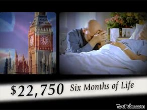 This Club for Growth TV ad posted on YouTube compares the health care reform plan to the system in Britain.