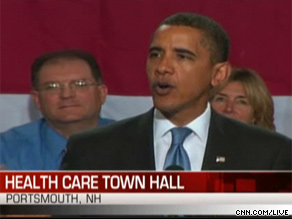 President Obama is speaking right now with voters about health care in New Hampshire.