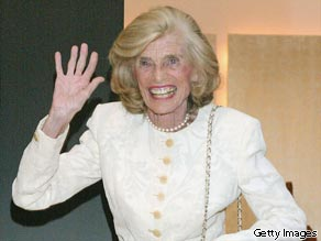 Special Olympics founder and Honorary Chairperson Eunice Kennedy Shriver waves during the party for the 'Faces Of Sport' party benefiting the Special Olympics on April 29, 2004 in Beverly Hills, California.