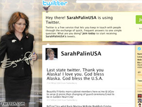 Palin has been silent on Twitter since leaving office in July.