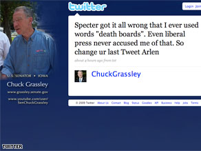 Senator Grassley goes after Senator Specter on his Twitter account.